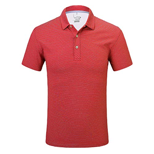 EAGEGOF Regular Fit Men's Shirt Stretch Tech Performance Golf Polo Shirt Short Sleeve XL Stripes Red