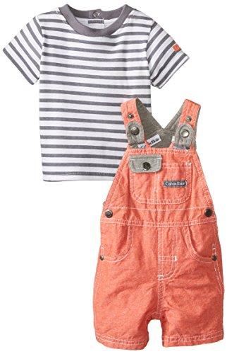 Calvin Klein Baby-Boys Newborn Shortall with Stripes Tee, Orange, 3-6 Months