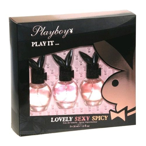 Playboy Eau de Toilette Spray 3 Piece Gift Set for Women with Lovely, Sexy, and Spicy