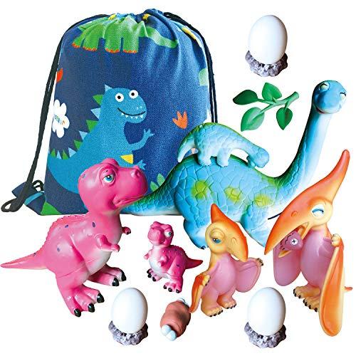 Dinosaur Toys - Tyrannosaurus Rex(T-Rex), Pterosaur and Brontosaurus Toys and Dinosaur Drawstring Bag - Dinosaur Gifts for Boys and Girls