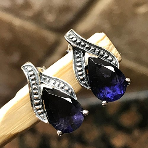 Natural 3.5ct Iolite { Water Sapphire } 925 Solid Sterling Silver Designer Stud Earrings 12mm Long (3 Stone Iolite Ring)