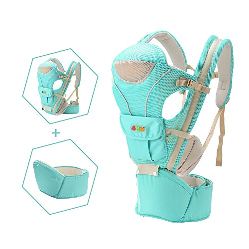 Do.BOMRVII Mochila Portabebe De 4 en 1 Portabebes mochila de Tejido de Poliester Simple y Doble Hombro para Ninos,Blue Green