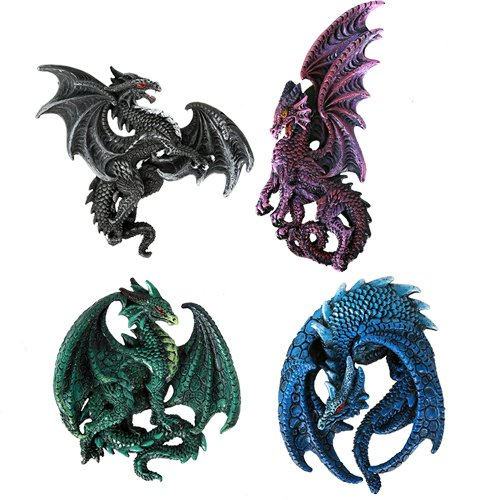 Dragon's Lair Ruth Thompson Set of 4 Collectible Sculptural Dragons Refrigerator Magnets Gift -