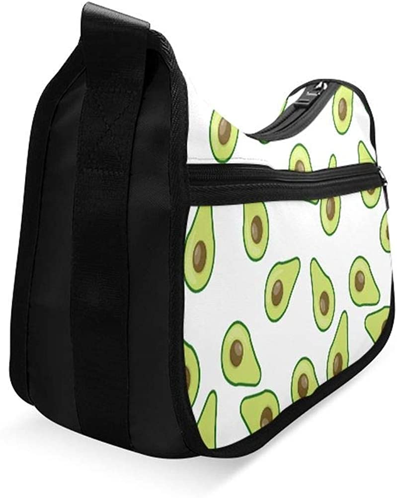 Cute Avocado And Tropical Leaves Messenger Bag Crossbody Bag Large Durable Shoulder School Or Business Bag Oxford Fabric For Mens Womens