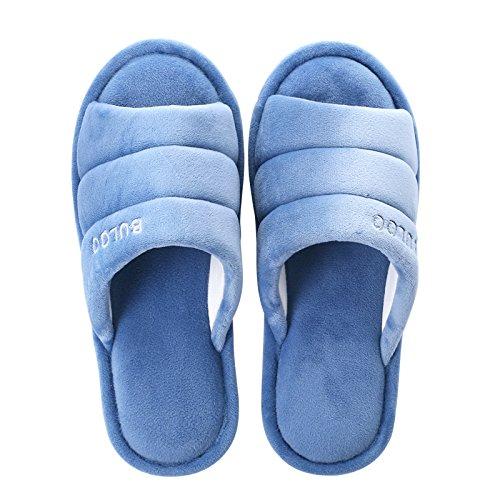 Y-Hui Invierno y hogar de invierno zapatillas, Lady amantes, zapatillas de algodón, los hombres de color sólido del Piso Piso a prueba de deslizamiento en invierno Deep blue