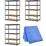 Edsal UR245AZ-BLK Steel Storage Rack, 5 Adjustable Shelves, 4000 lb. Capacity, 72'' Height x 48'' Width x 24'' Depth, Black (3-Pack) with Dust Cloth