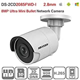 Hikvision 8MP 4K Bullet Camera DS-2CD2085FWD-I 2.8mm Lens POE H.265 IP67 Outdoor Security Surveillance IP Camera ONVIF English Version