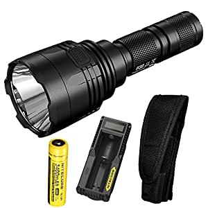Nitecore P30 1000 Lumens 676 Yards Throw Rechargeable Searchlight Flashlight with a high capacity 3400mah Nitecore 18650 batteries, UM10 charger and Lumen Tactical Adapters