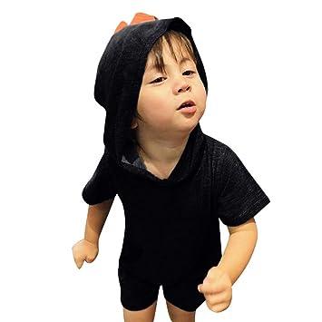 Bebé niño verano Cosplay Pelele niño dinosaurio dibujos animados vestido con sombrero y bolsillo manga corta