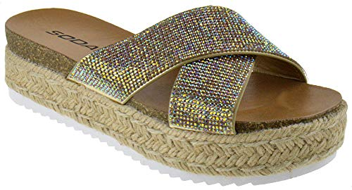SODA Delta S Womens Casual Espadrilles Trim Rubber Sole Rhinestone Studded Flatform Open Toe Sandals Gold 10