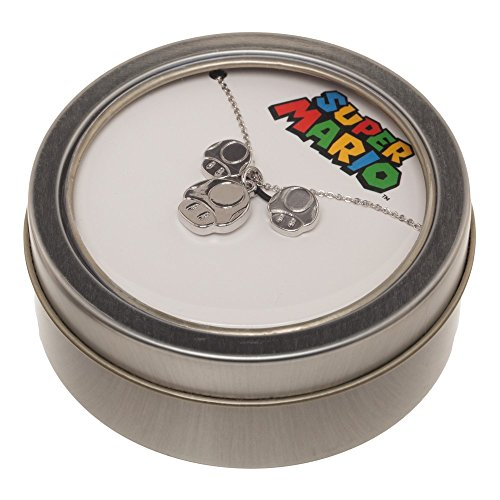 Super Mario Mushroom Necklace and Earring Set in Tin (Video Game Necklace)