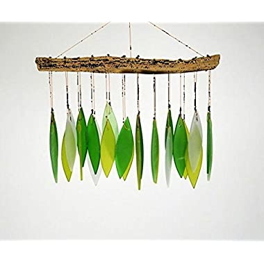 Blue Handworks Spring Leaves Glass Wind Chime