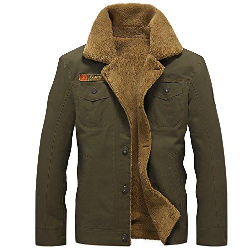 ZooYung Men's Winter Fleece Casual Cotton Jacket Bomber Jacket Military Jacket Windbreaker Trench(ZY-Jacket608-Green-L)