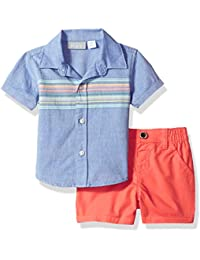 The Children's Place Baby Boys' English Striped Shirt and Short Set