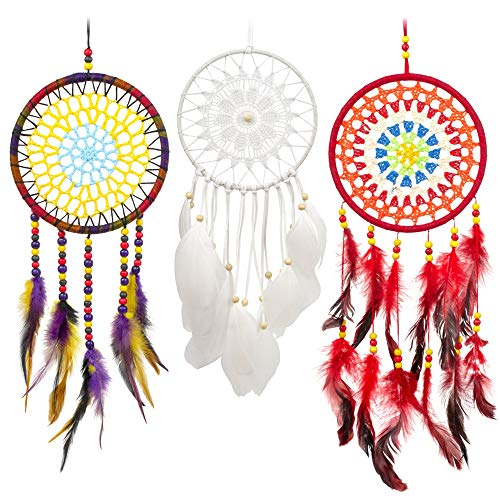 c46b535fae1c MiRundel Dream Catcher Handmade Set of 3 - White, Red, Purple Feather Round  Dreamcatchers for Home Wedding Car Wall Hanging Decorations - Boho ...