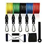 Lonrun Resistance Bands Set 5 Fitness Tubes, Handles, Door Anchor, Ankle Straps, Carrying Pouch, Workout Guides Training, Physical Therapy, Home Workouts, Yoga, Pilates