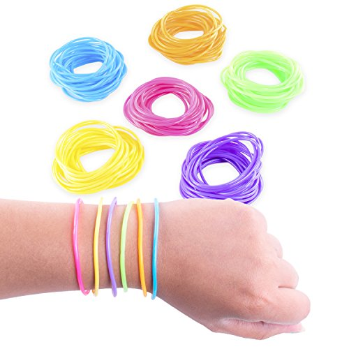 80s Colorful Retro Rock Pop Star Rainbow Diva Disco Jelly Neon Gel Stretchable Bracelets Bands for Theme Events, Colorful Assortment, Assorted Toy Party Favor Prizes (144 Pack)