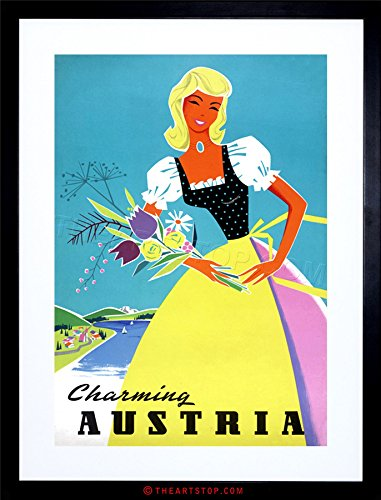 The Art Stop Travel Tourism Austria Traditional Costume Flowers Framed Print F12X6991