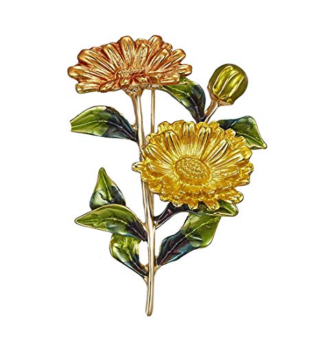 Ahugehome Womens Brooch Pin Sunflower Alloy Enamel Inlay Crystal Dress Shirt Suit Sweater Coat Gift Packaging (F Sunflower Enamel Yellow)