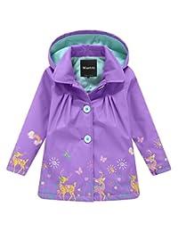 Wantdo Girl's and Boy's Hooded Rain Jacket Windproof Fleece Raincoat