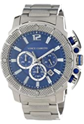Vince Camuto Men's VC/1020BLSV The Striker Steel Silver-Tone Blue Dial Chronograph Watch