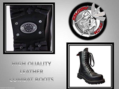 Hitch in fori Punk Nero Stivale a Angry Colore acciaio militare 10 4RjL5A3