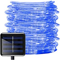 Aluvee Solar Rope Lights,33ft/100LED Waterproof Blue Outdoor String Lights for Garden Halloween Christmas Party Tree Xmas Decoration