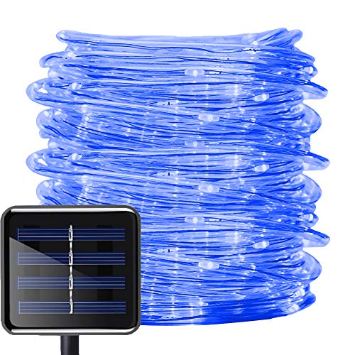 Aluvee Solar String Light,Garden Decoration Outdoor Waterproof Copper Wire String Christmas Lamp Wedding Party Tree Xmas Decoration Tree Xmas (33ft/100LED,Blue + PVC Tube)