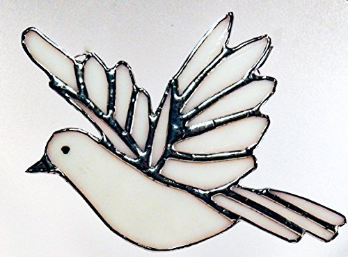 Stained Glass White Peace Dove with or without Heart shaped Red or Blue/Green Glass Bead