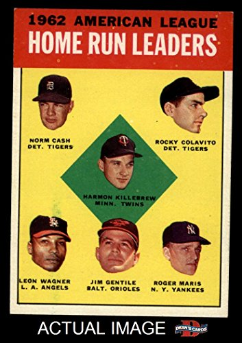 1963 Topps # 4 AL HR Leaders Harmon Killebrew / Roger Maris / Norm Cash / Rocky Colavito / Jim Gentile / Leon Wagner Tigers / Twins / Angels / - Mari Jim