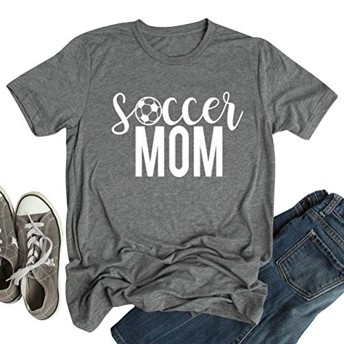 Graphic Sleeve Soccer Short Tee (ZXZY Women Round Neck Soccer Graphic Mom Letter Print Short Sleeve Shirts Tee Gray)