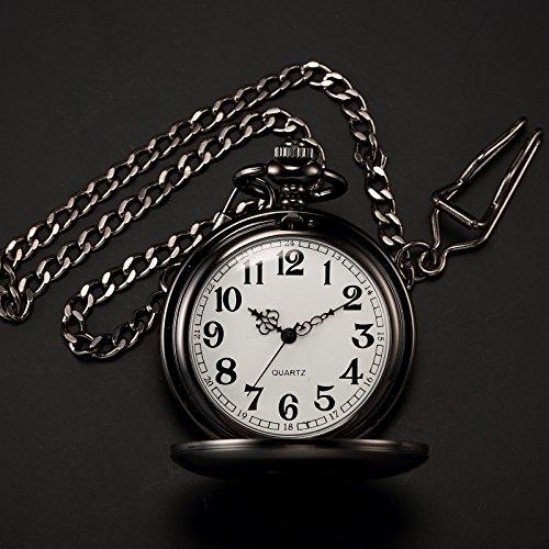 AMPM24 Vintage Black Men's Women Ladies Quartz Pendent Pocket Watch Clock Chain Gift WPK026 by AMPM24 (Image #4)
