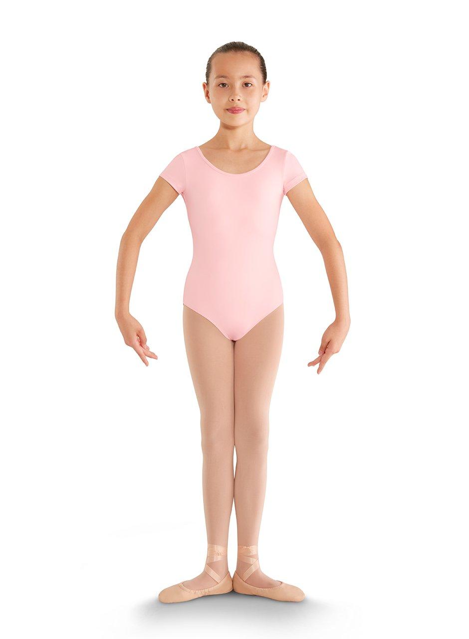 Bloch Dance Girls Bellflower Strap Back Cap Sleeve Leotard, Candy Pink, Size 2-4 by Bloch