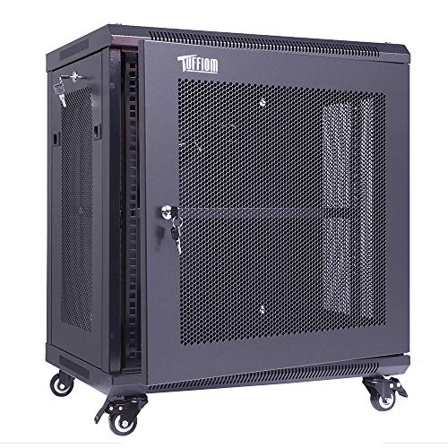 TUFFIOM 12U Casters Network Enclosure, 19 Inch Consumer Series Server Equipment Rack, Computer Date IT Network Cabinet Include 3 Side Panel Locks, Cooling Fan, No Assembly Required (Computer Storage Cabinets)