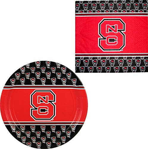 NC State Wolfpack Napkins & Plates - 64 Pieces (Serves - Nc 2 Wolfpack State Piece