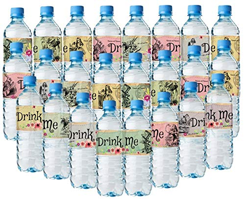 Alice In Wonderland Bottle Wraps - 24 Alice Water Bottle Labels - 8 different amazing layouts -
