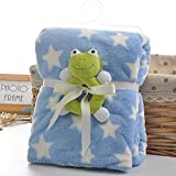2-layers Blue Star Print Fleece Blanket With Frog Rattle