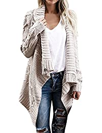Women's Long Sleeve Button Wrap Open Front Cable Knit Sweater Shawl Cardigans