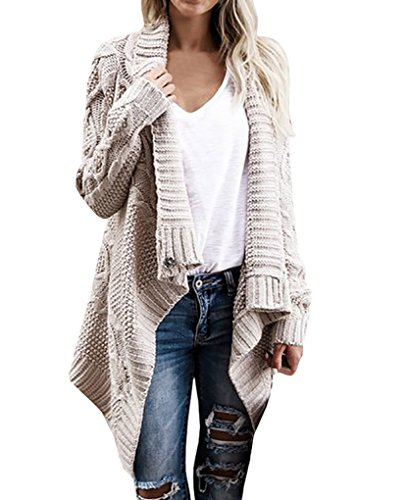 Bigyonger Women's Long Sleeve Button Wrap Open Front Cable Knit Sweater Cardigans