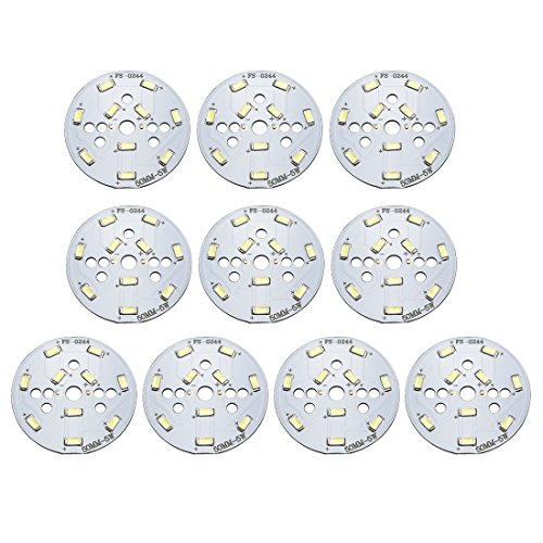 uxcell 300mA 5W 10 LEDs 5730 SMD LED Chip Module Aluminum Board Pure White Super Bright 50mm Dia 10pcs ()