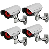 Masione 4 Pack Indoors Outdoors Fake Dummy CCTV Security Camera with 30 Illuminating Infra Red Night Vision LEDs Surveillance (Silver)