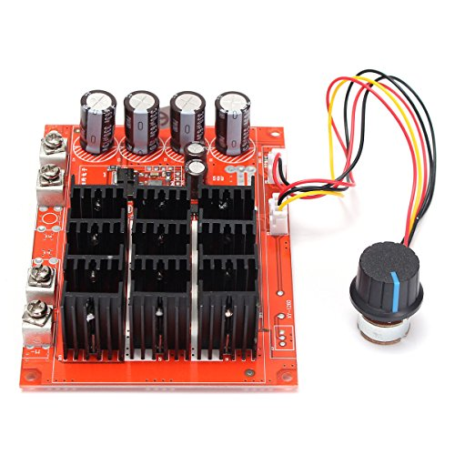 ELEGIANT DC 10-50V 60A High Power Motor Speed Controller PWM HHO RC Driver Controller Module 12V 24V 48V 3000W Extension Cord with Switch (Reliable Electric Dc 2 Variable Speed Motor Controller)