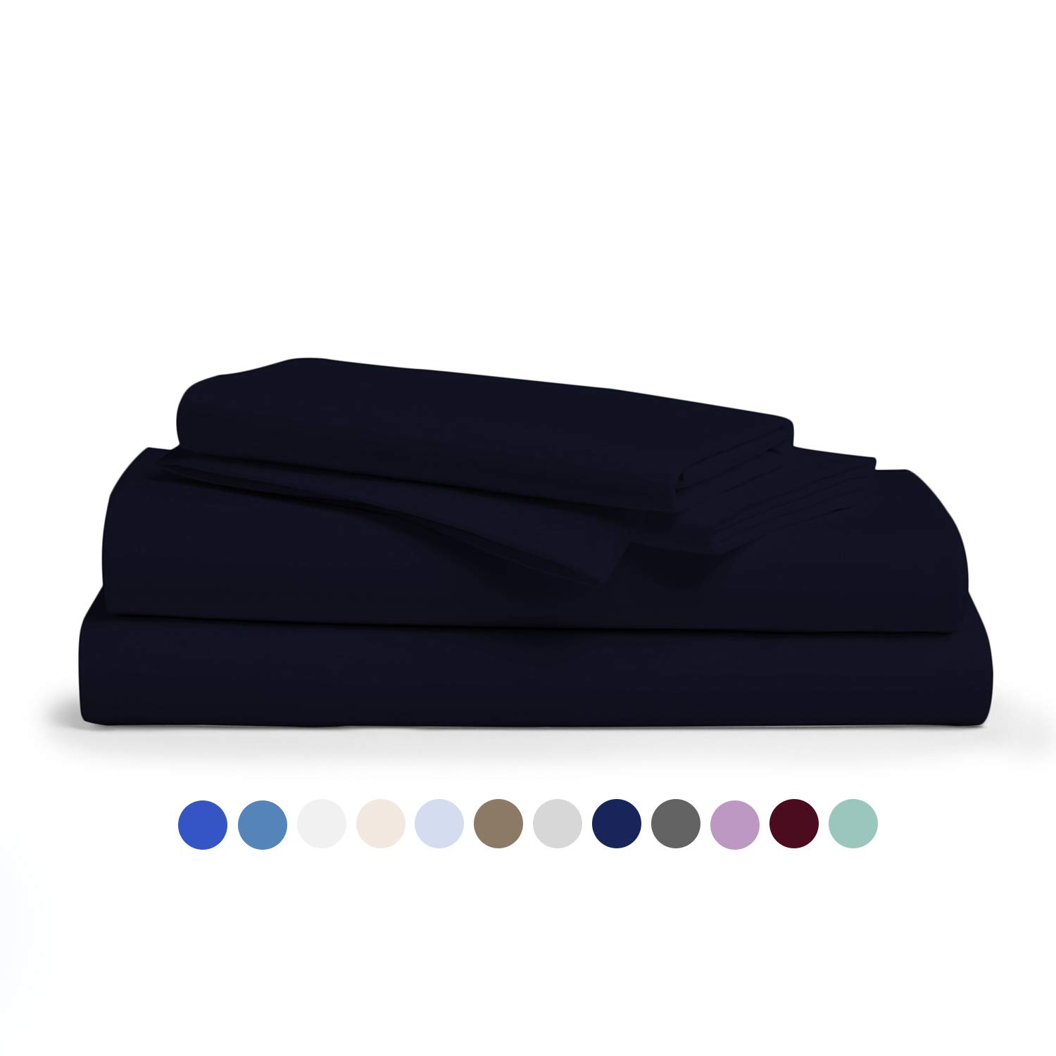 Comfy Sheets 100% Egyptian Cotton Sheets - 1000 Thread Count 4 Pc King Navy Blue Bed Sheet with Pillowcases,Hotel Quality Fits Mattress Up to 18'' Deep Pocket. by Comfy Sheets