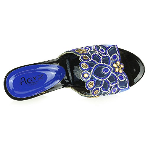 Royal On Crystal Ladies Women Size Wedge Bridal LONDON Slip Wedding Sandals Diamante Evening AARZ Decorated Party Shoes Heel Blue Prom xqwU6