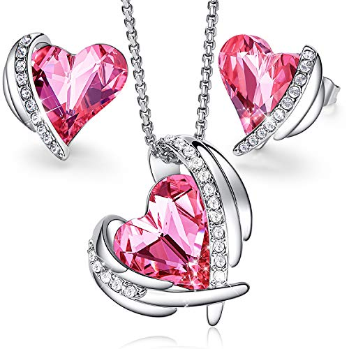 CDE Women Jewelry Set ''Pink Angel 18K White Gold Plated Pendant Necklace and Studs Earring Embellished with Crystals from Swarovski Jewelry for Women Ideal Gift for Mother's Day ()
