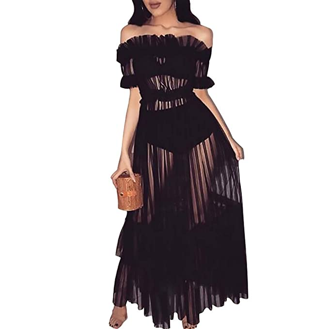d5ff8cfaca0 Image Unavailable. Image not available for. Color  Ulanda Women s Sexy  Dresses - Lace Off Shoulder High Wasit Flared Mesh ...