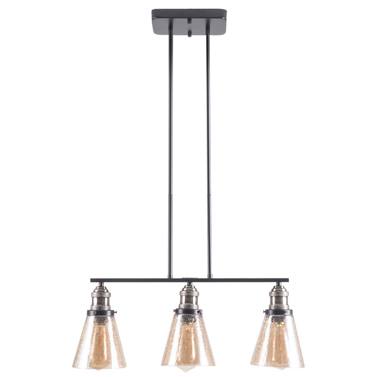 SHENGYADI 3-Light Amber Crackle Glass Pendant Lighting Modern Multi Kitchen Island Lighting Dining Room Lighting Fixtures Hanging