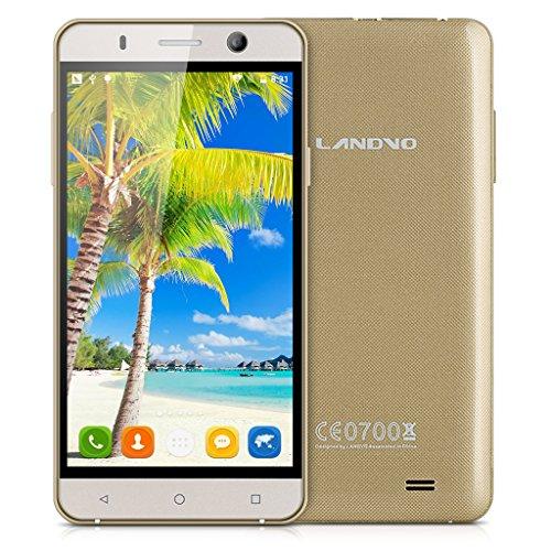 Landvo XM100 5,0'' Zoll 3G-Smartphone IPS Screen Simlockfrei Handy Ohne Vertrag MT6580 Quad Core 1.3GHz MT6580 Dual SIM 1G+8G Dual Kameras Smart Wake GPS WIFI Bluetooth Gold