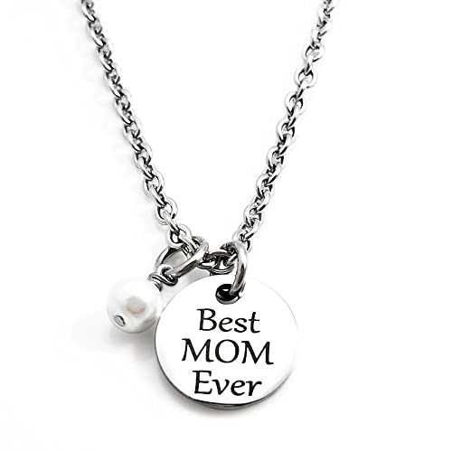 753dccf0e35f8 Amazon.com: Best MOM Ever Necklace - Engraved Jewelry - Women - Gift ...