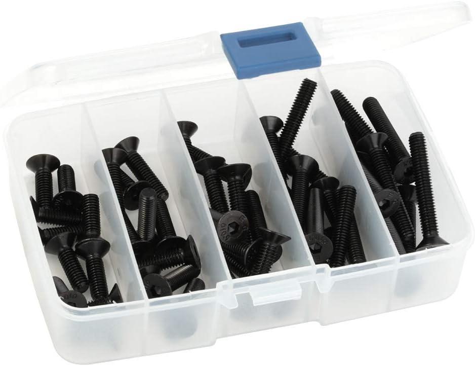 Flat Head Socket Cap Screws, M6-1.0 x 20mm, 25mm, 30mm, 35mm, and 40mm, Allen Socket Drive, Alloy Steel Grade 10.9, Black Oxide, 50 PCS